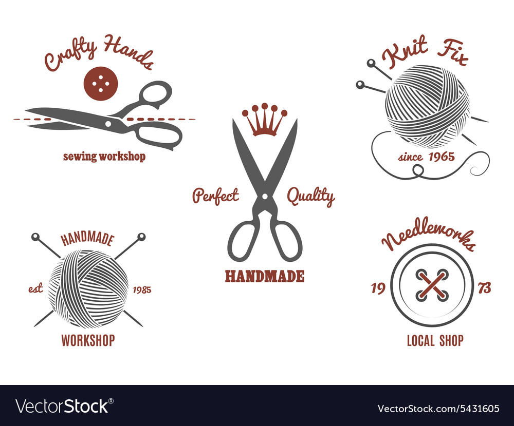 Handmade logos Royalty Free Vector Image - VectorStock