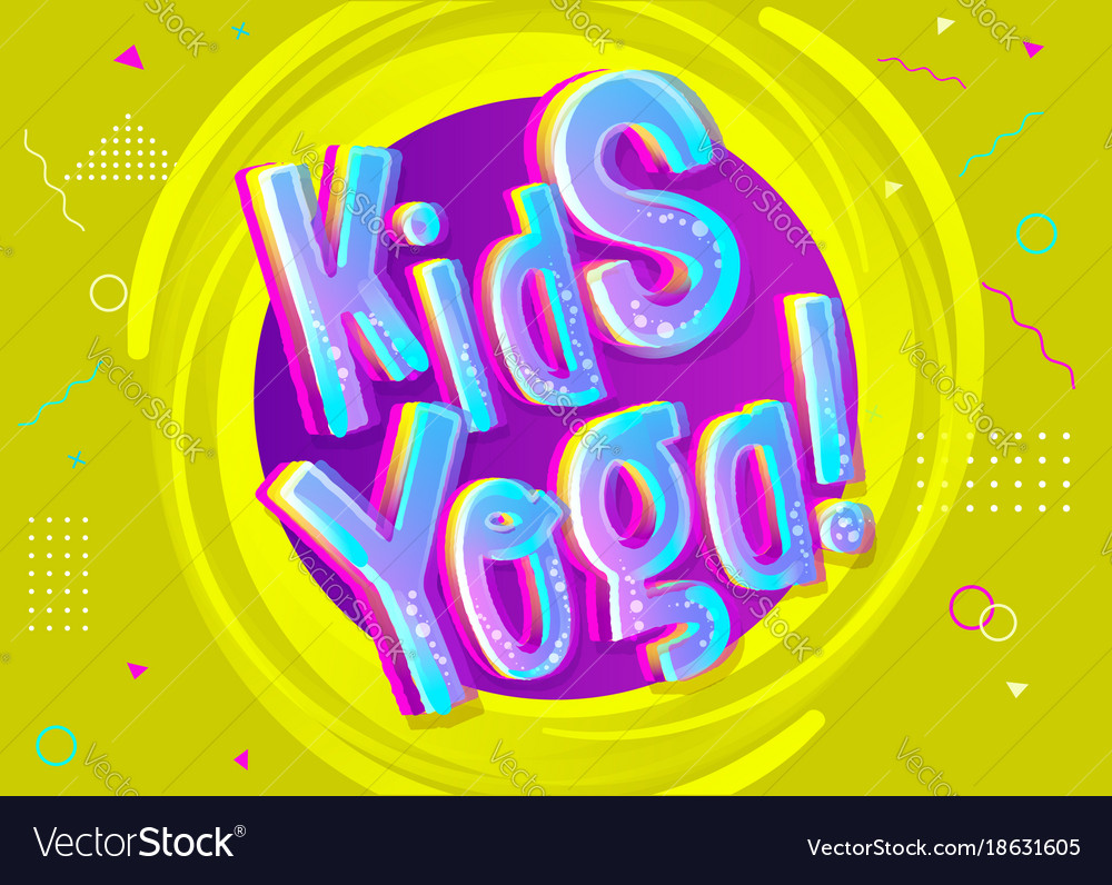 Kids Yoga Background In Cartoon Style Bright Vector Image