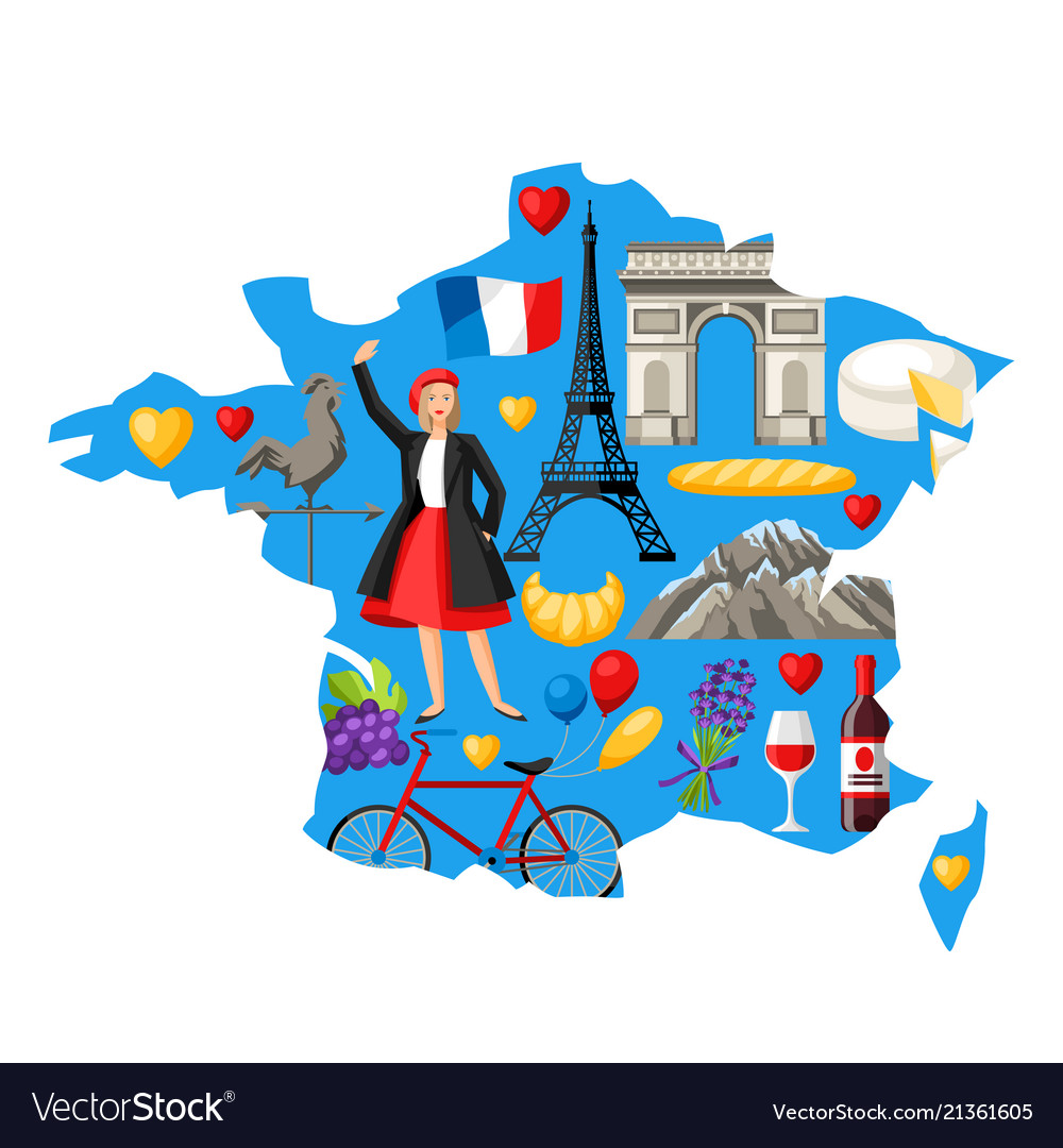 Map Of France Cartoon.Baguette French Girl Vector Images 41