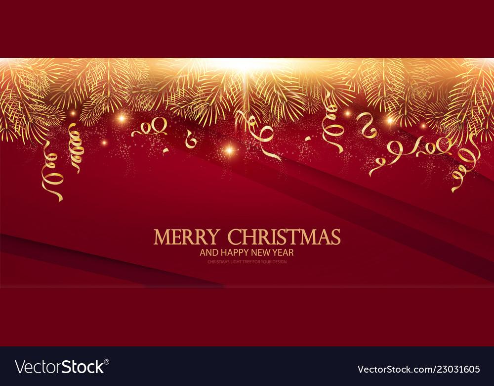 Merry christmas elegant design template gold fir