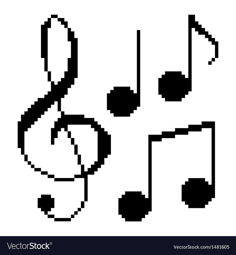 Pixel music notes