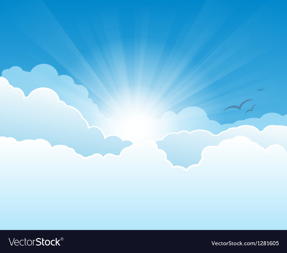 sky with clouds and sun rays background royalty free vector rh vectorstock com vector skydive rig vector skydiving container