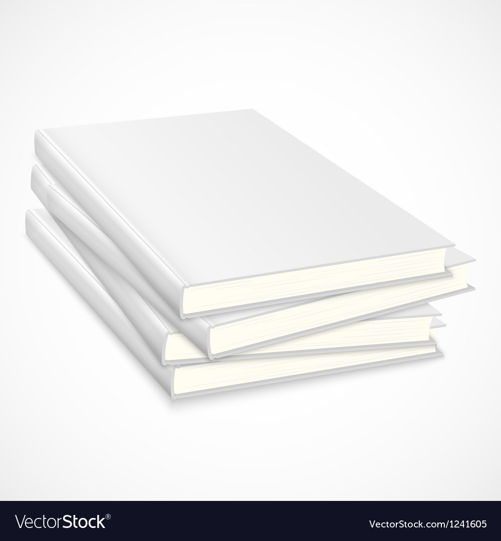 Stack of empty books with white cover vector image