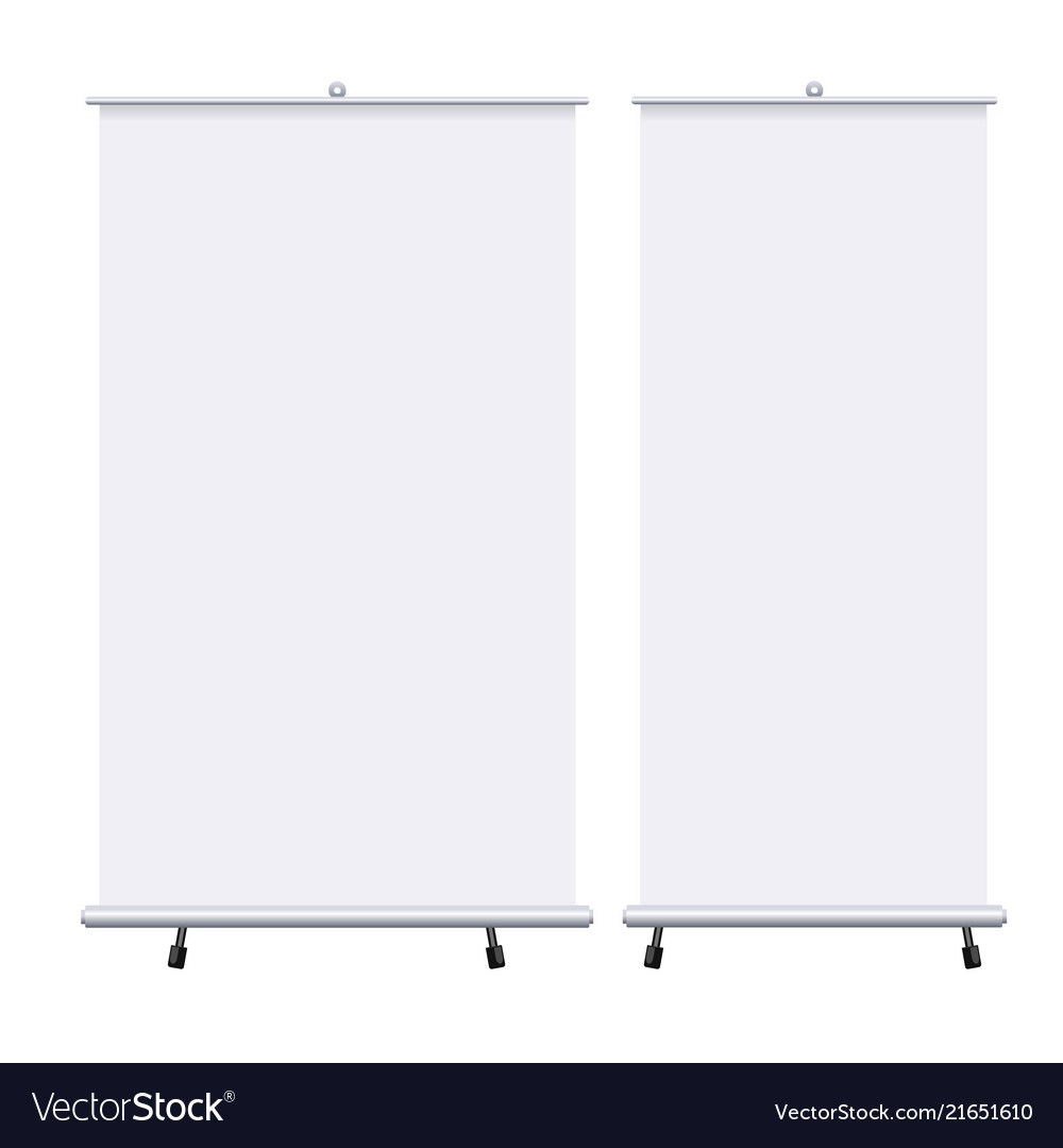 Blank roll up banners set isolated on the white
