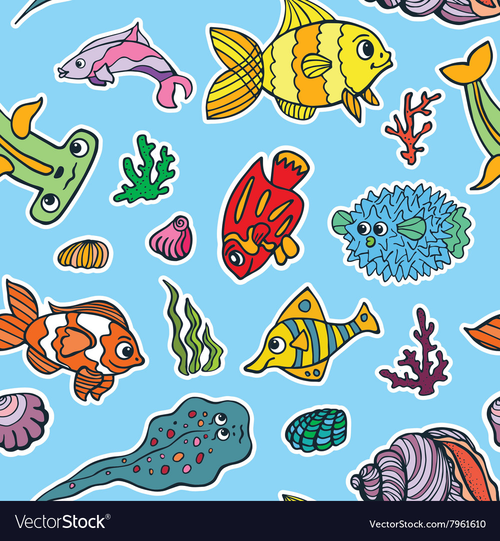 Cartoon Funny Fish Sea Life seamless pattern