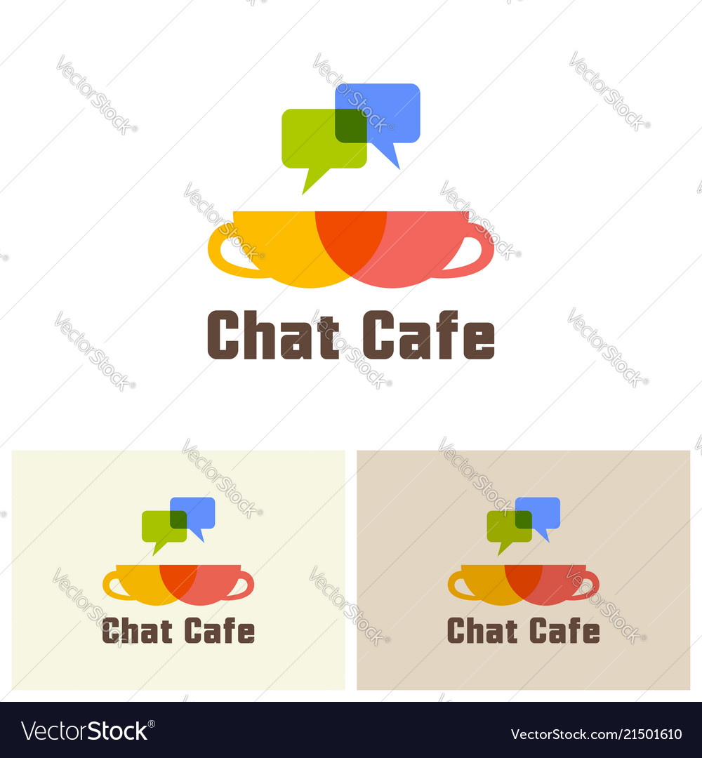 Chat cafe isolated logo design template