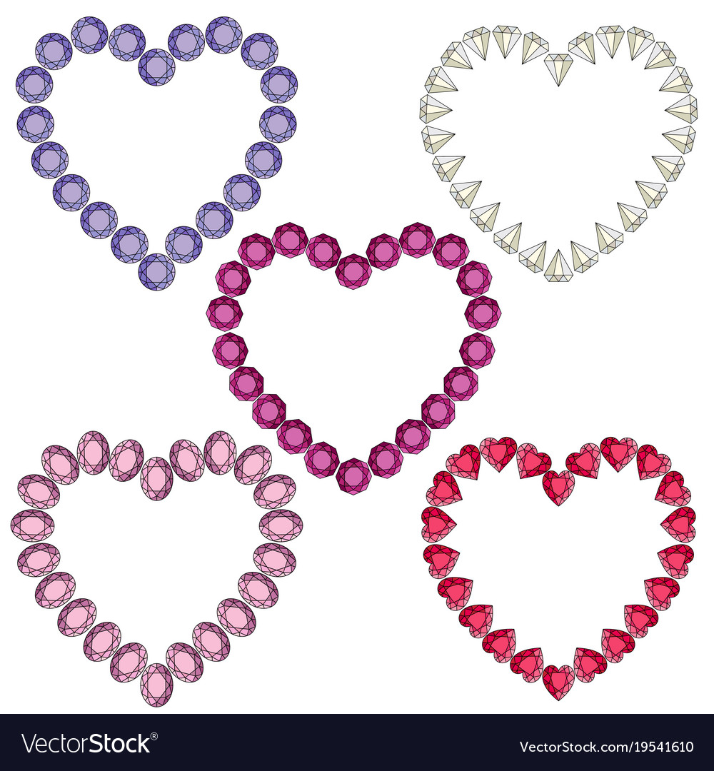Gemstone heart shaped frames Royalty Free Vector Image