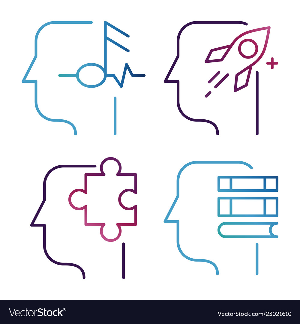 Idea creative thinking line icons isolated