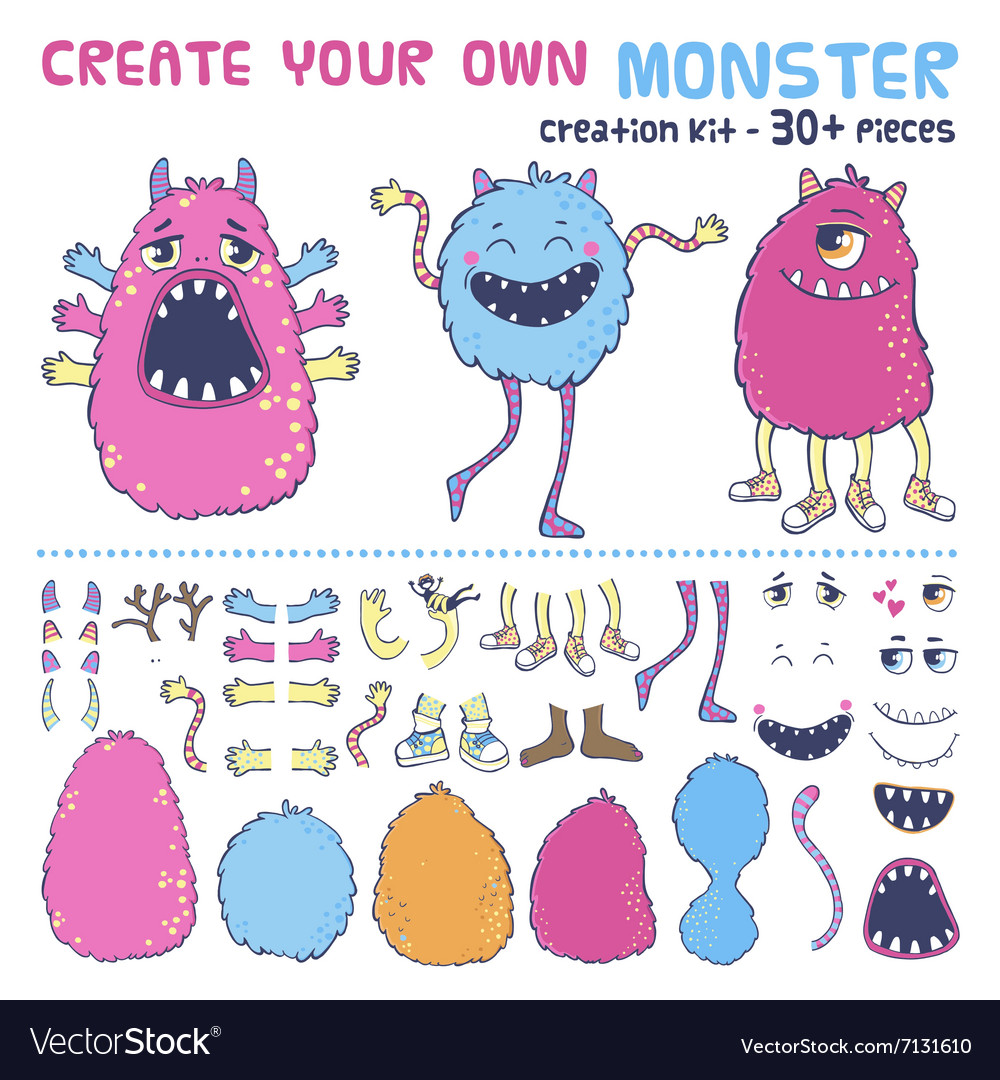Monster creation kit vector image