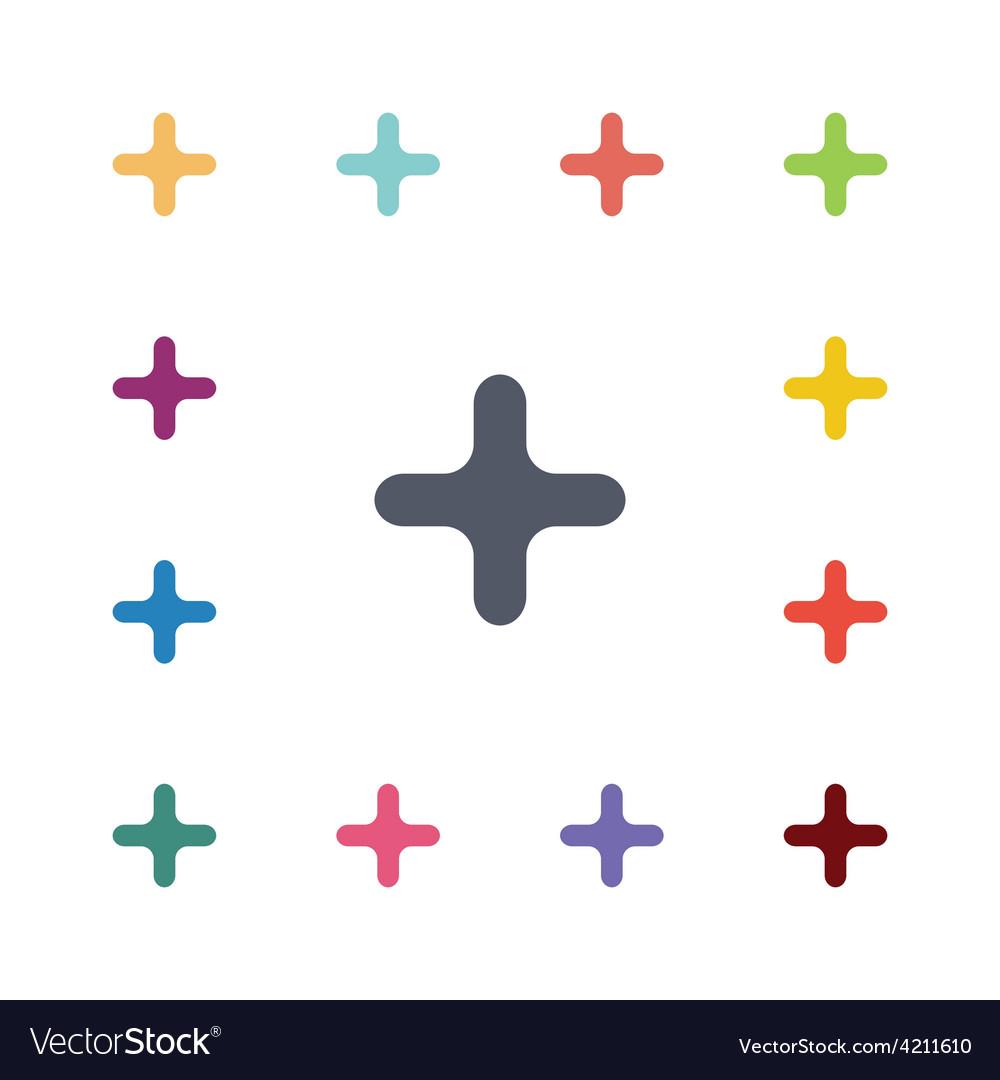 Plus flat icons set vector image