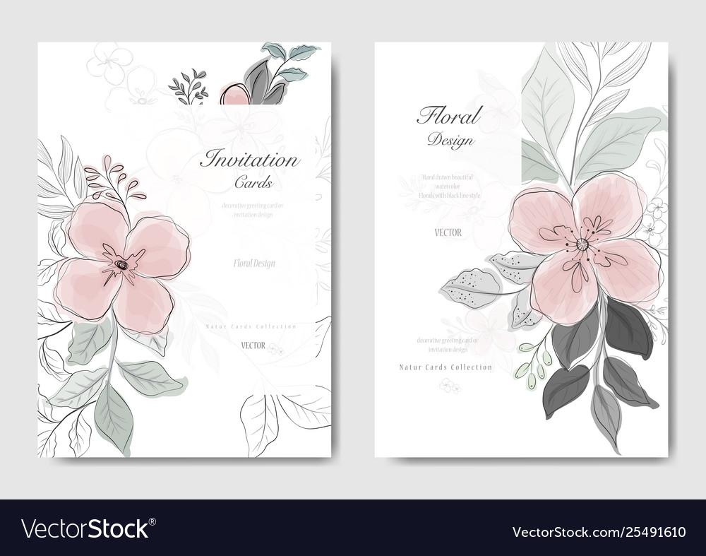 Set pink flower with black line card