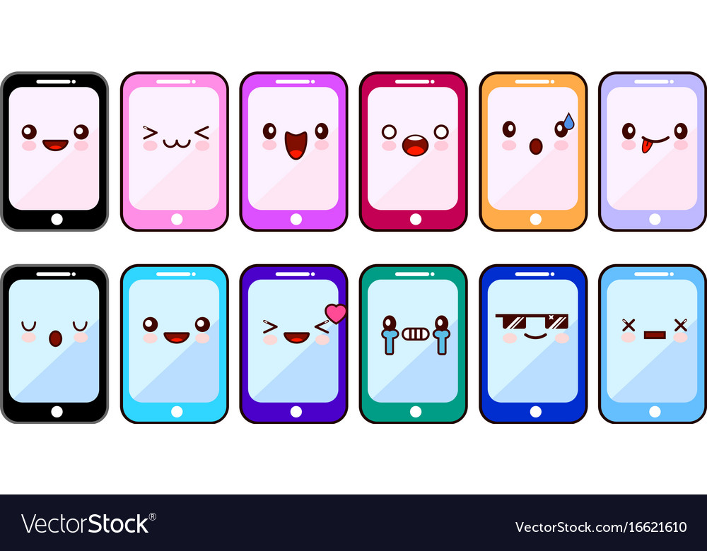 Smartphone cartoon characters funny faces set of