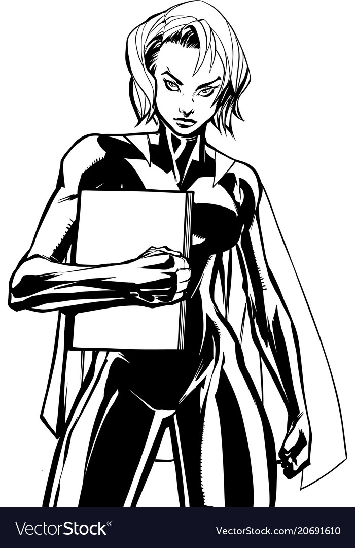 Superheroine holding book no mask line art