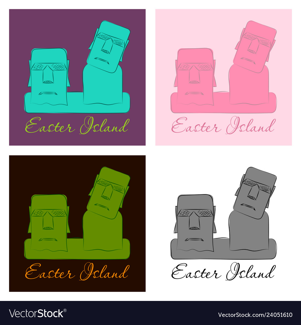 The landscape of easter island with the famous vector image