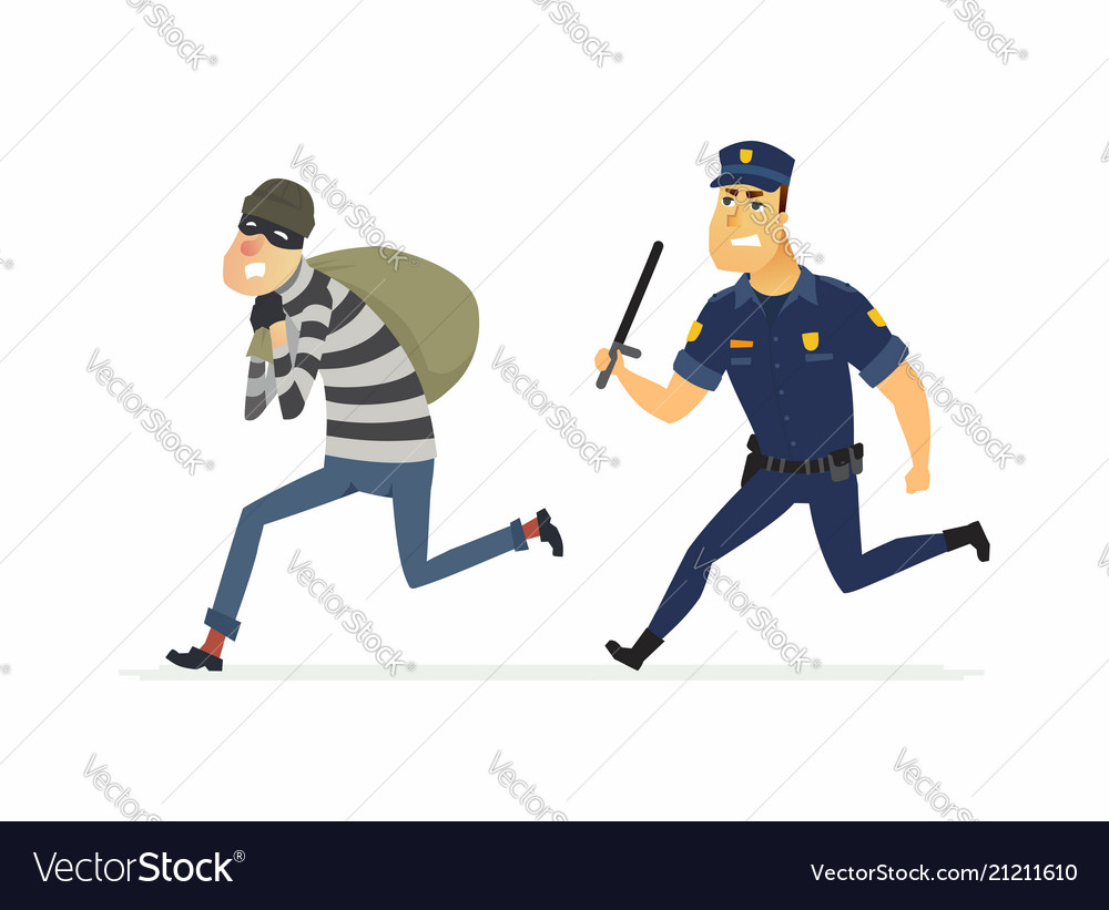 Thief and policeman - cartoon people characters