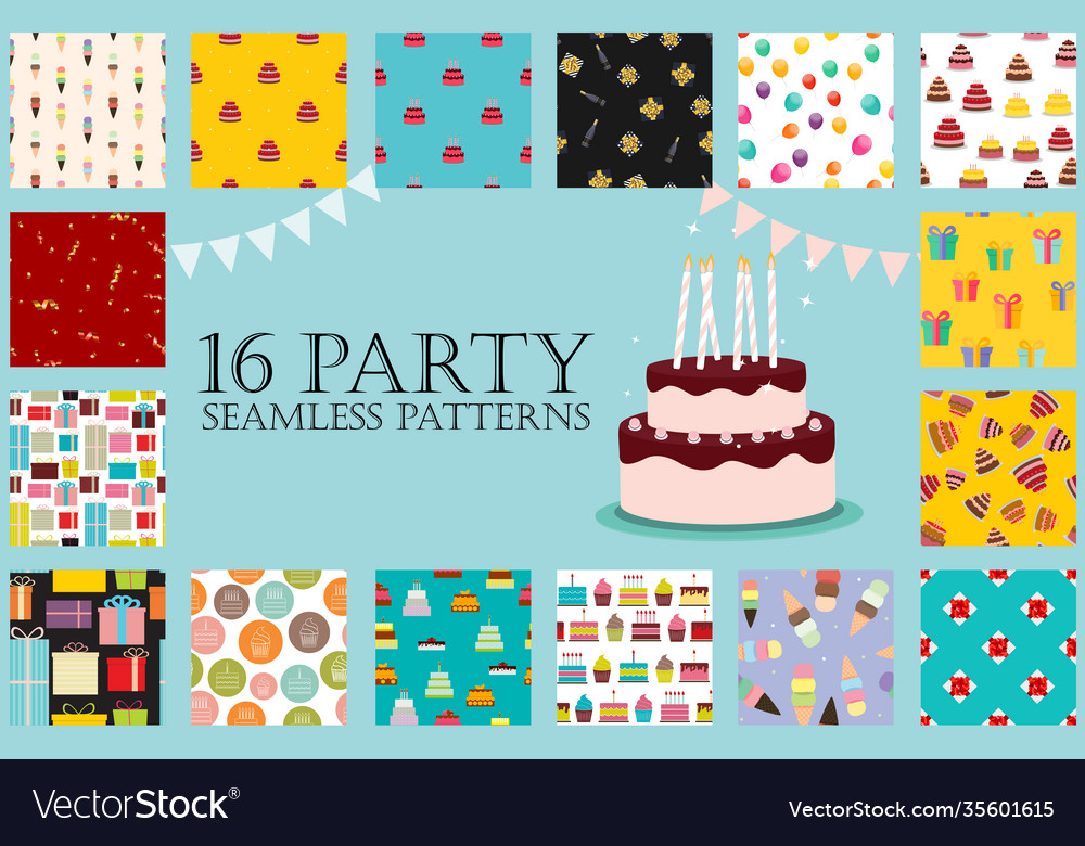 16 party seamless pattern collection set eps10