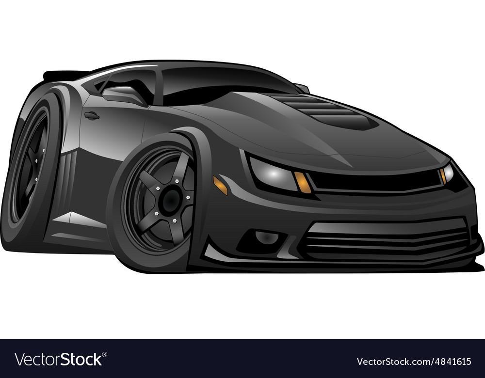 Black Modern American Muscle Car Royalty Free Vector Image