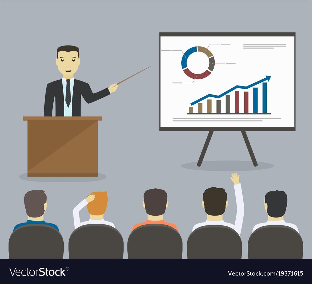 Businessman gives a presentation or seminar