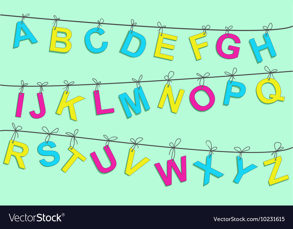 Colorful alphabet letters on a rope vector image
