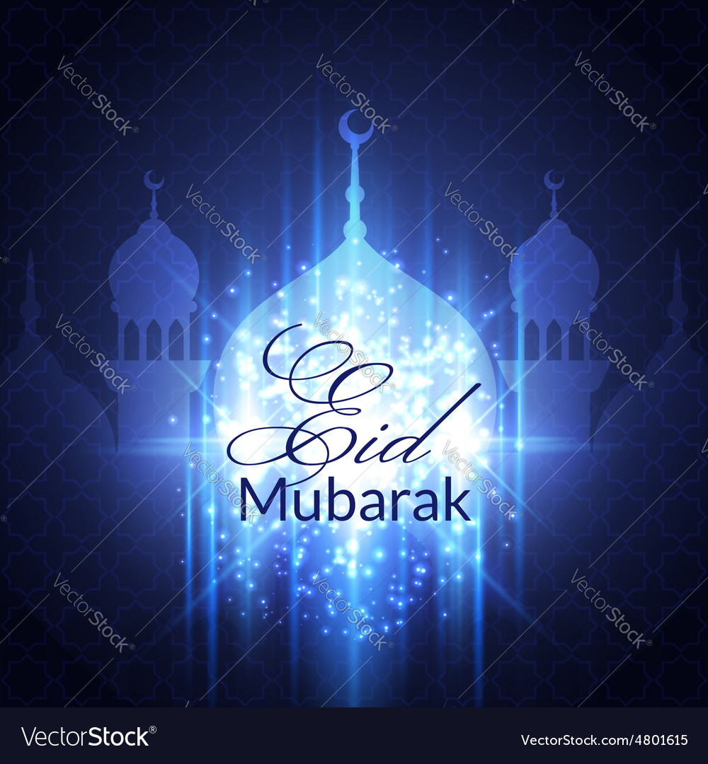 Eid mubarak greeting card with mosque royalty free vector eid mubarak greeting card with mosque vector image m4hsunfo