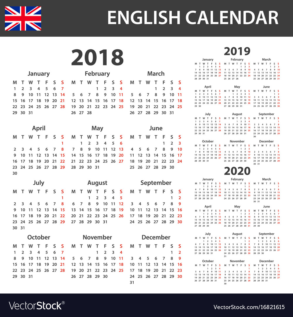 English calendar for 2018 2019 and 2020 scheduler