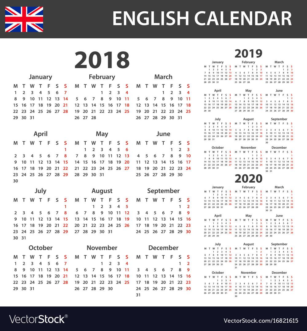 English Calendar 2020 English calendar for 2018 2019 and 2020 scheduler Vector Image