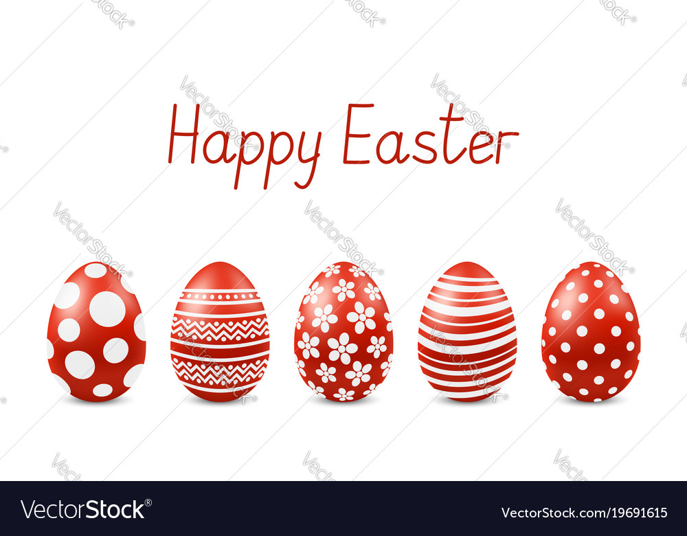 Happy easter greeting card with realistic eggs