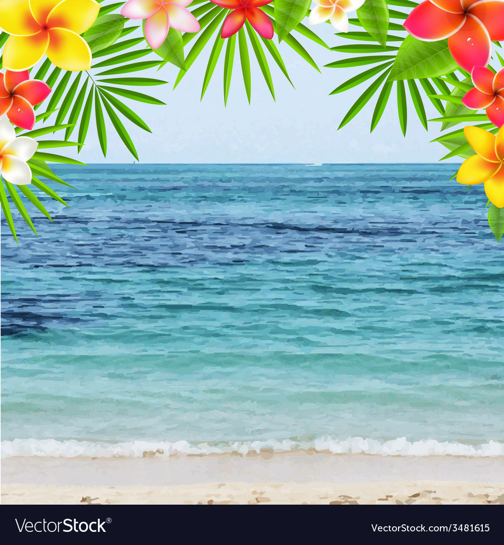 Happy Summer Time Poster With Frangipani