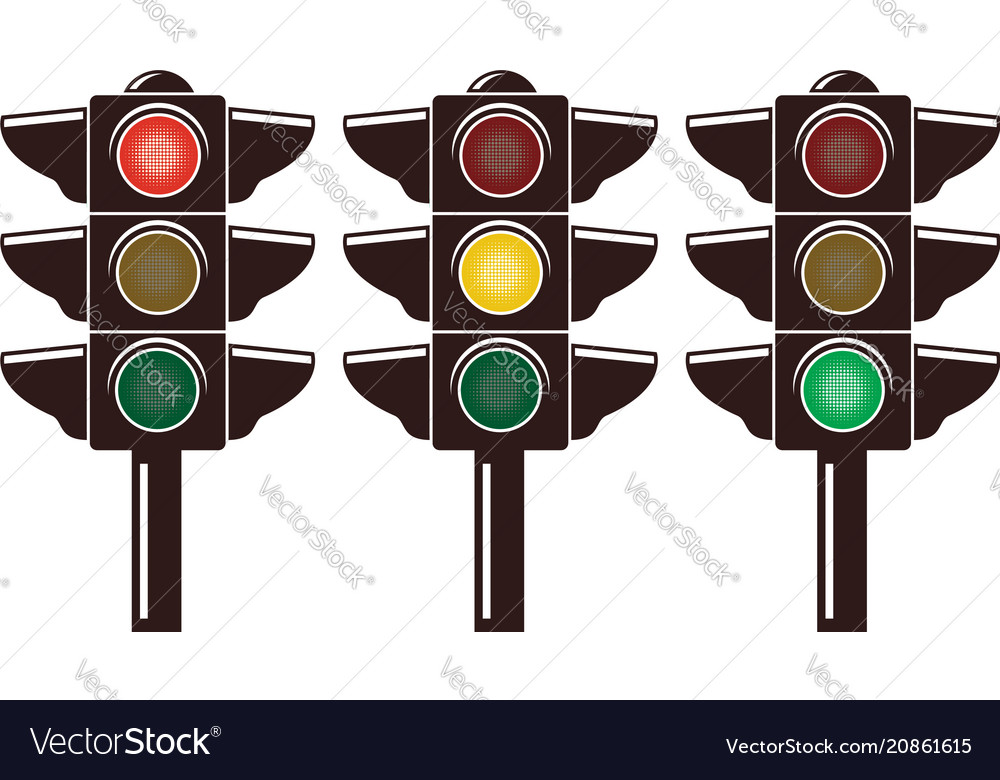 Icons traffic light isolated on white
