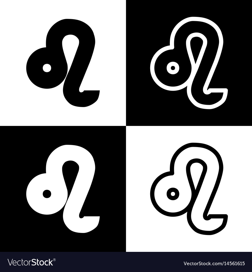 Leo Sign Black And White Royalty Free Vector Image