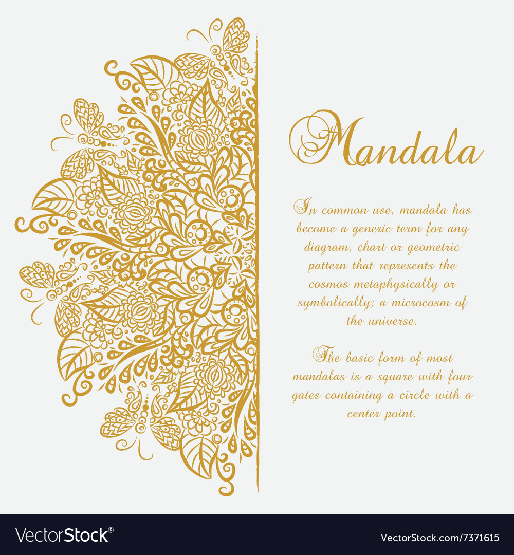 Mandala White background Gold ornament Royalty Free Vector