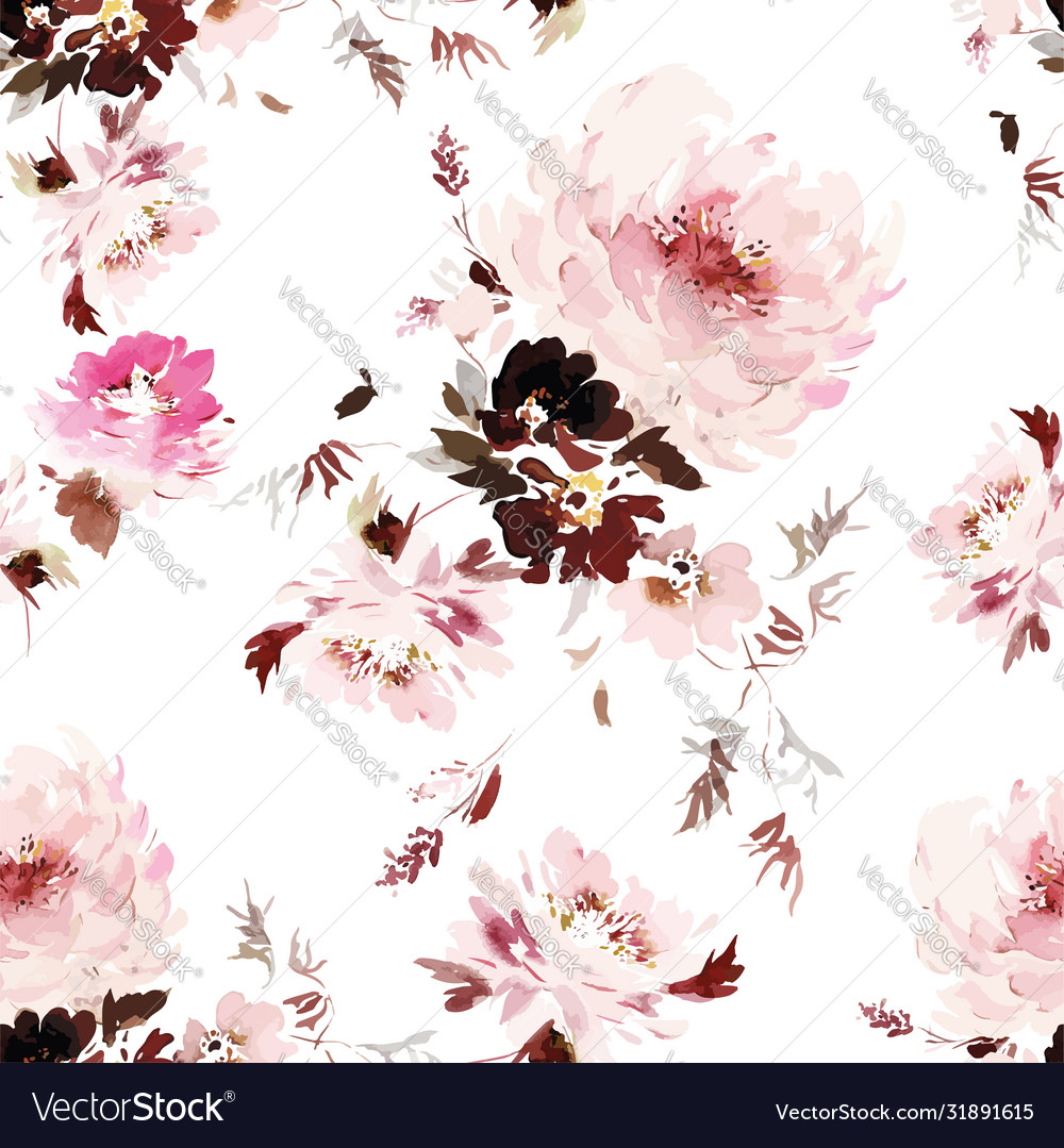 Seamless watercolor pattern with peonies