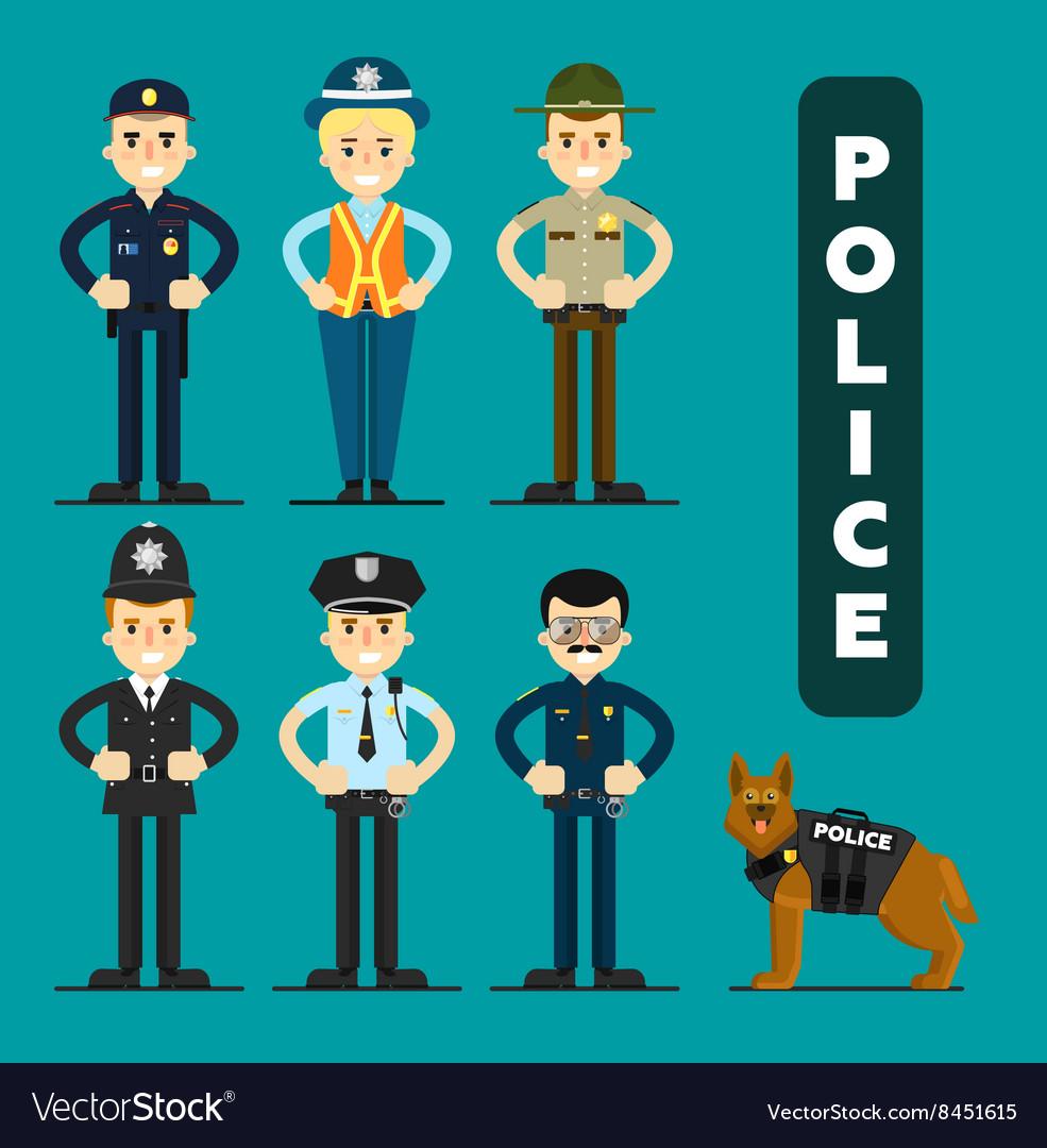 Set of policeman character
