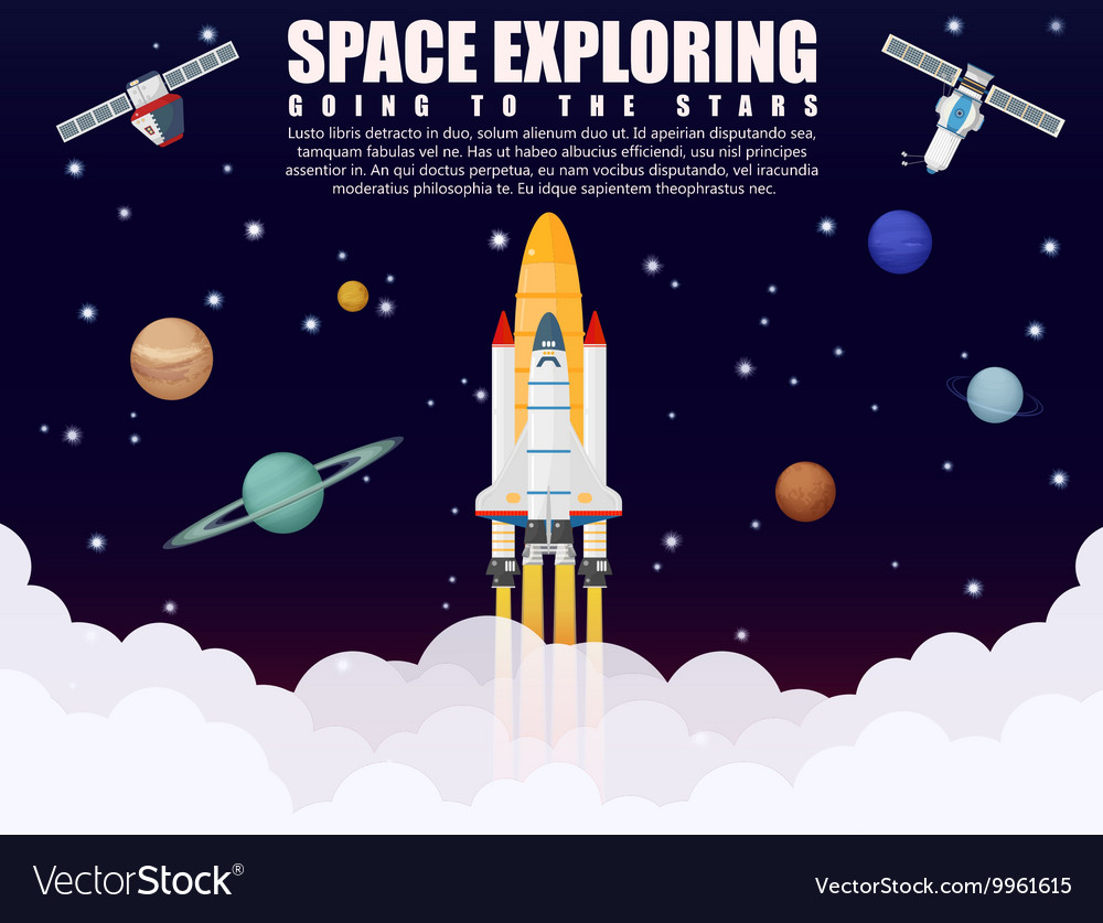 Space shuttle ship rocket launch exploring and
