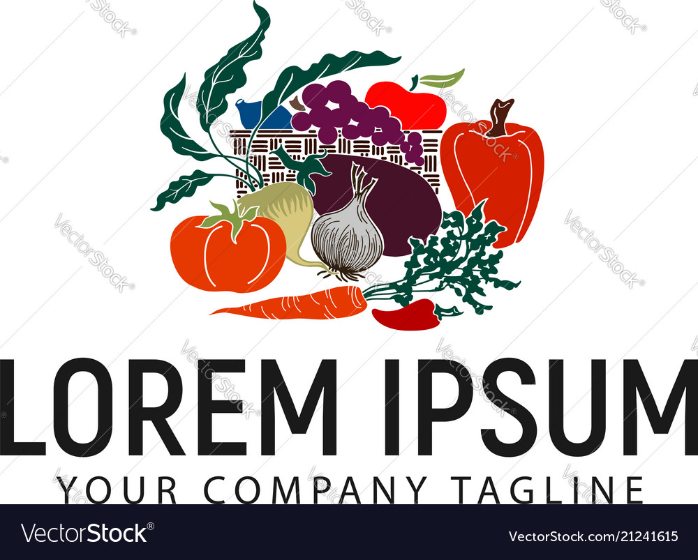 Vegetables logo design concept template