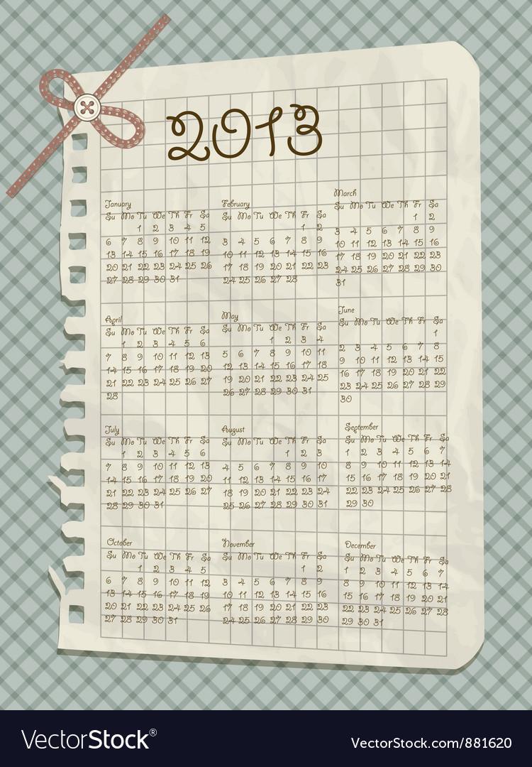 2013 scrapbook calendar