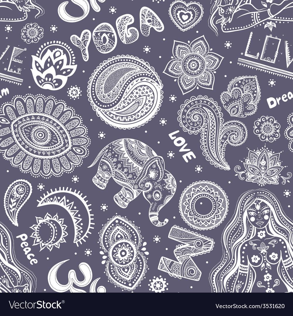 Beautiful seamless yoga pattern with ornaments