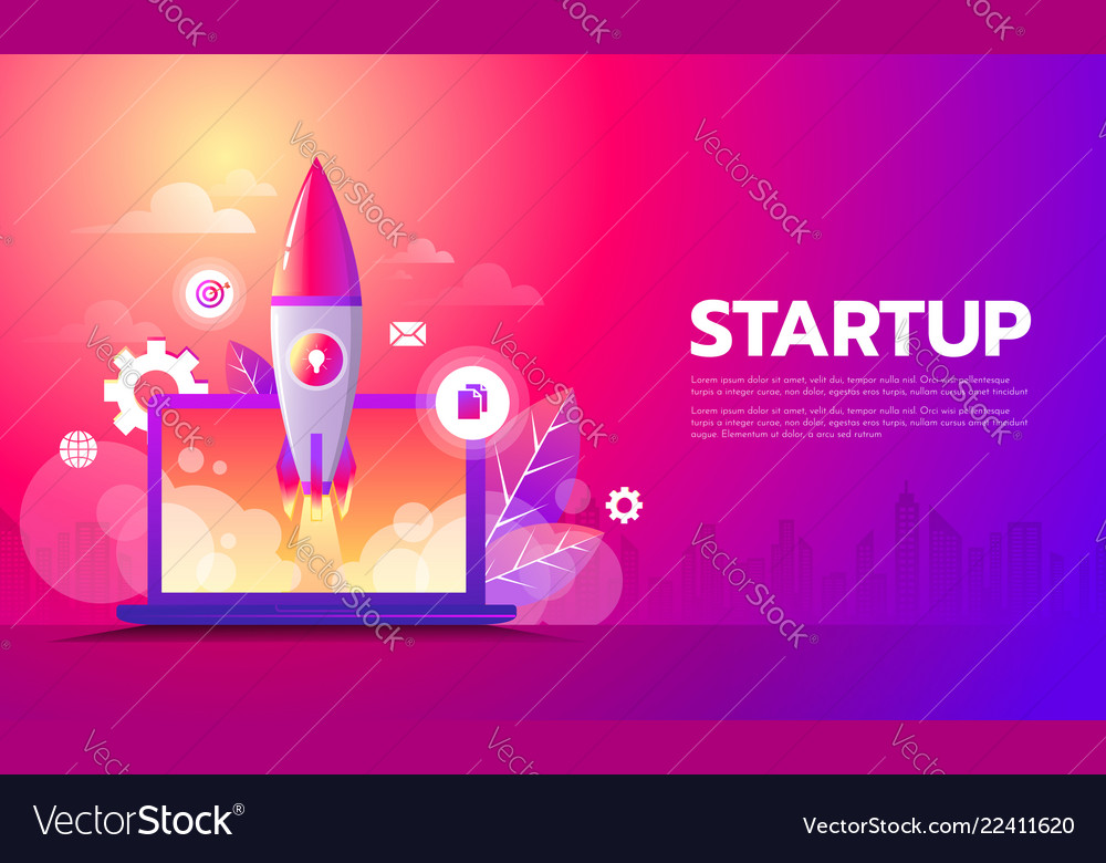 Business startup launching product with rocket