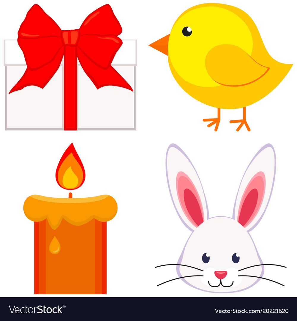Cartoon easter icon set chicken chick bunny face