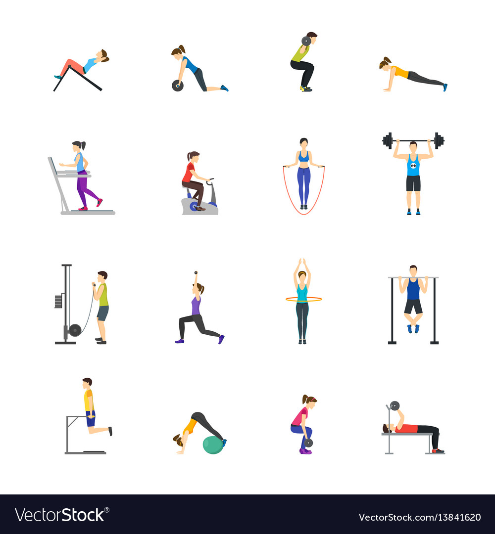 Cartoon girl and boy workout exercise in gym set vector image