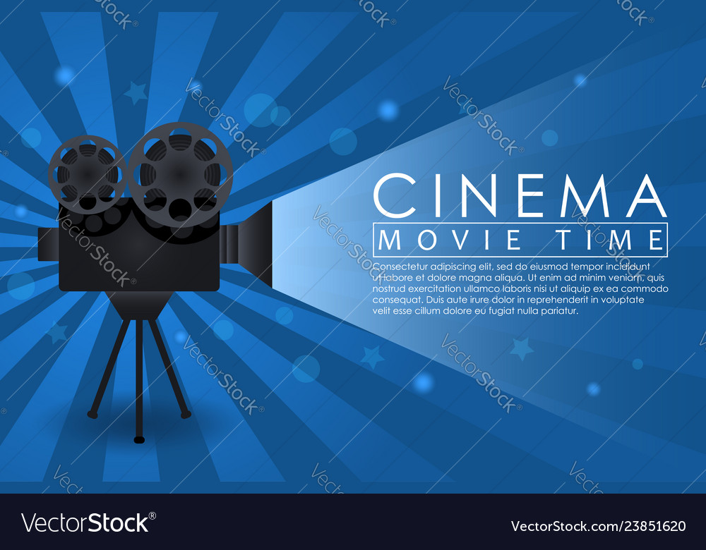 Cinema background movie time banner with retro