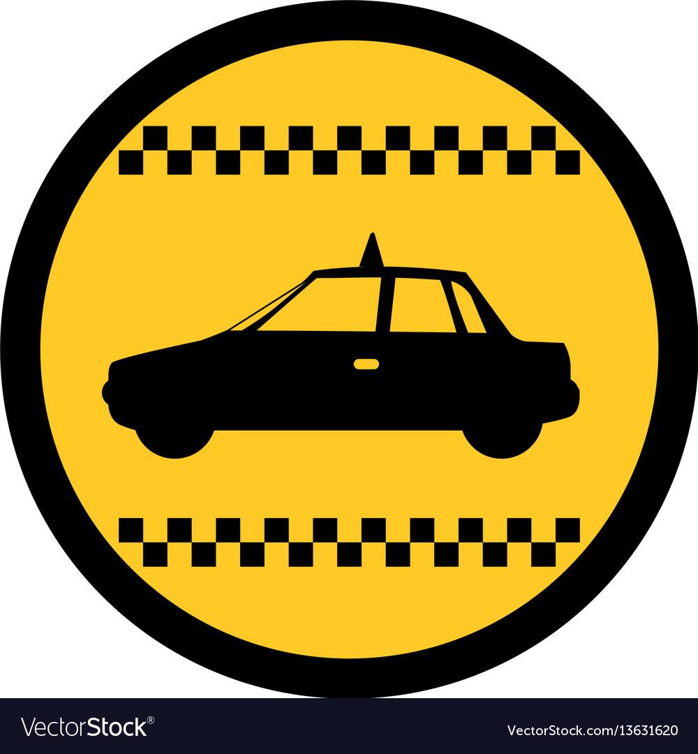 Color circular emblem of taxi car side view