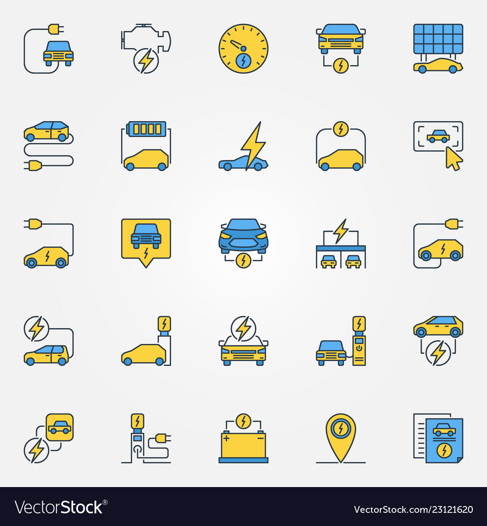 Electric car colorful icons set - electric
