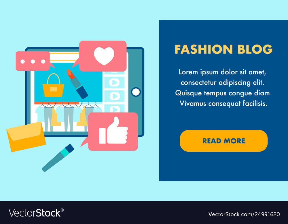 Fashion blog flat landing page template