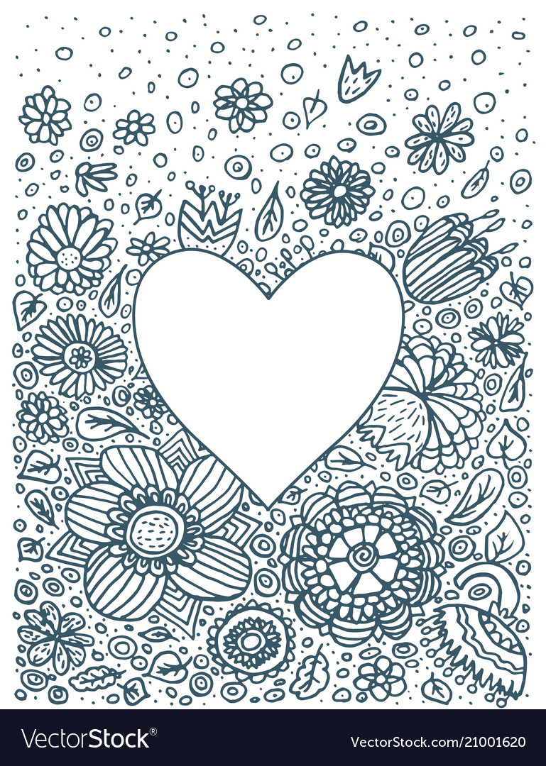 Floral background doodle heart