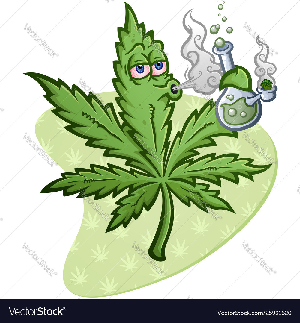 Marijuana Leaf Cartoon Character Smoking Bong Vector Image