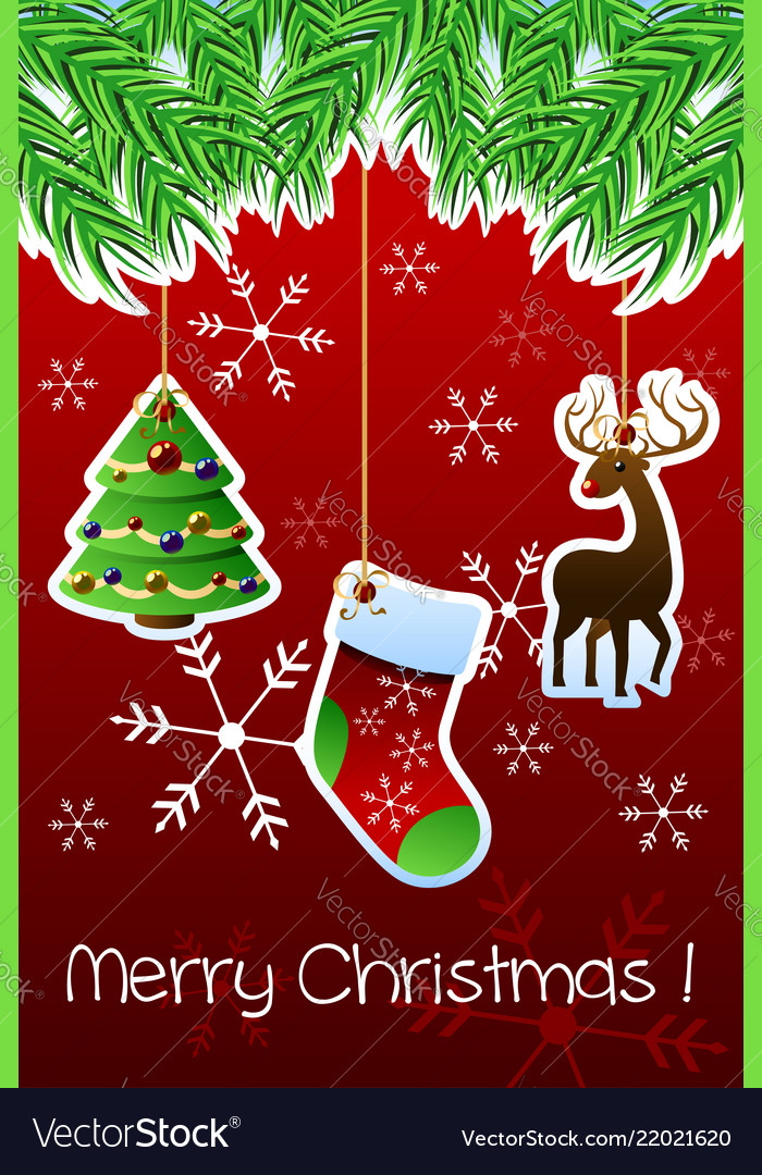 Merry christmas greeting card Royalty Free Vector Image