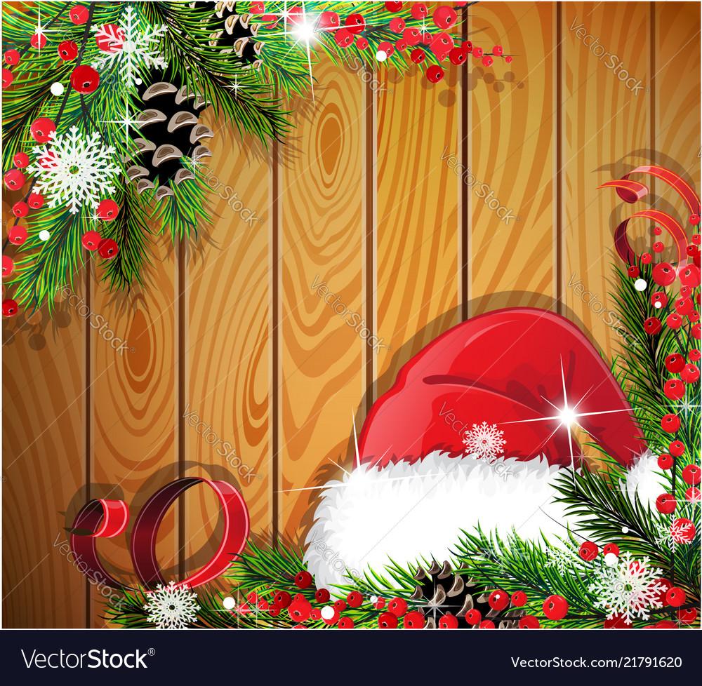 Santa hat on wooden background