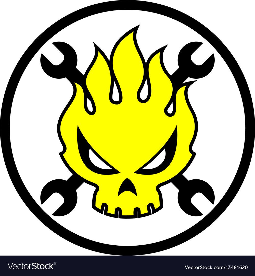 Skull fire cartoon vector image