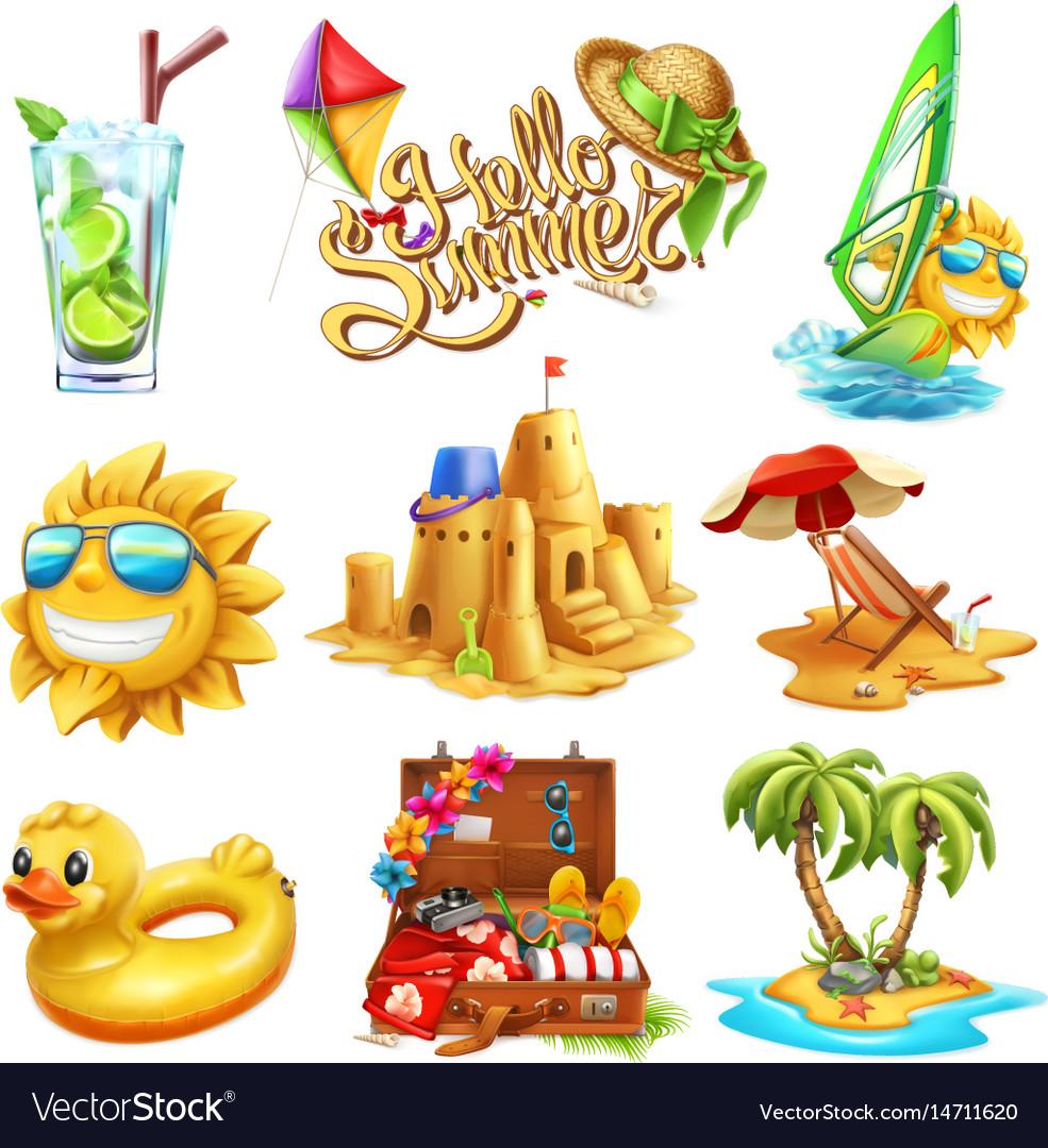 Summer set 3d icon